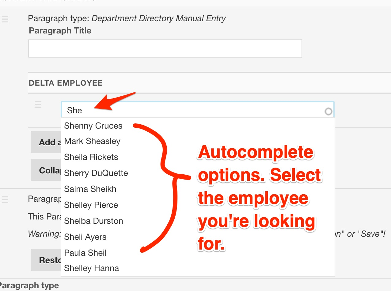 Adding new employees via the department directory