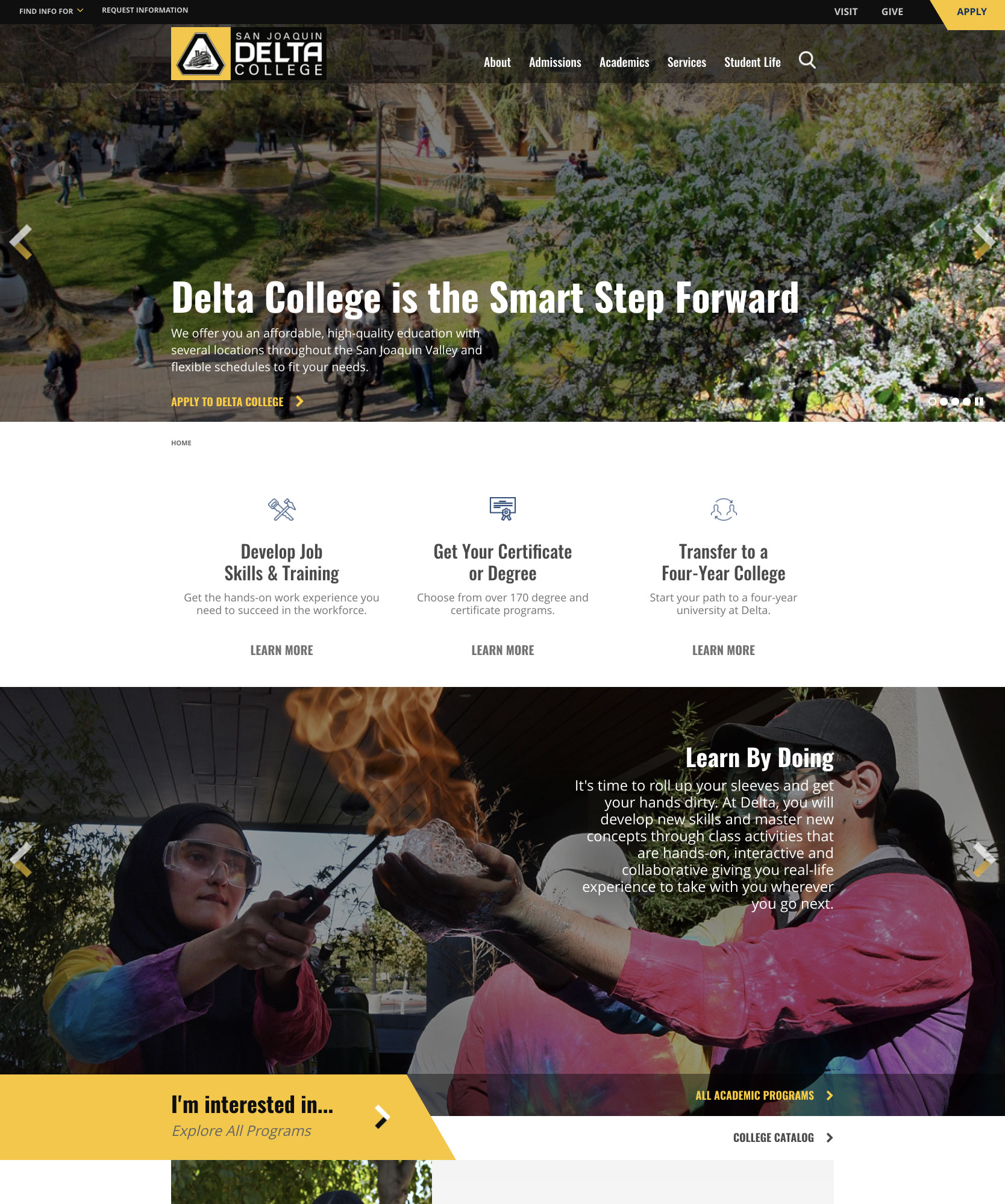 Screenshot of the new Delta College website