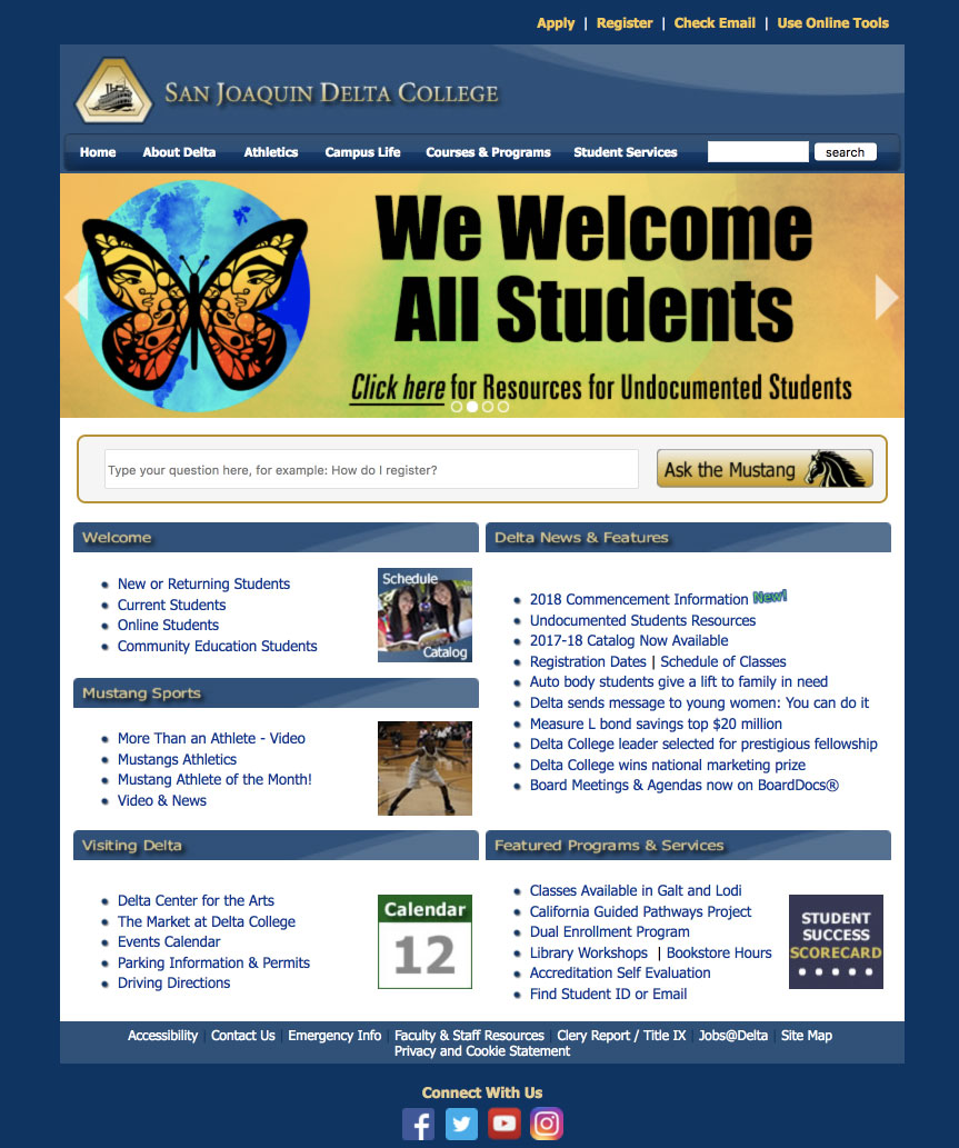 Screenshot of the old delta college old website
