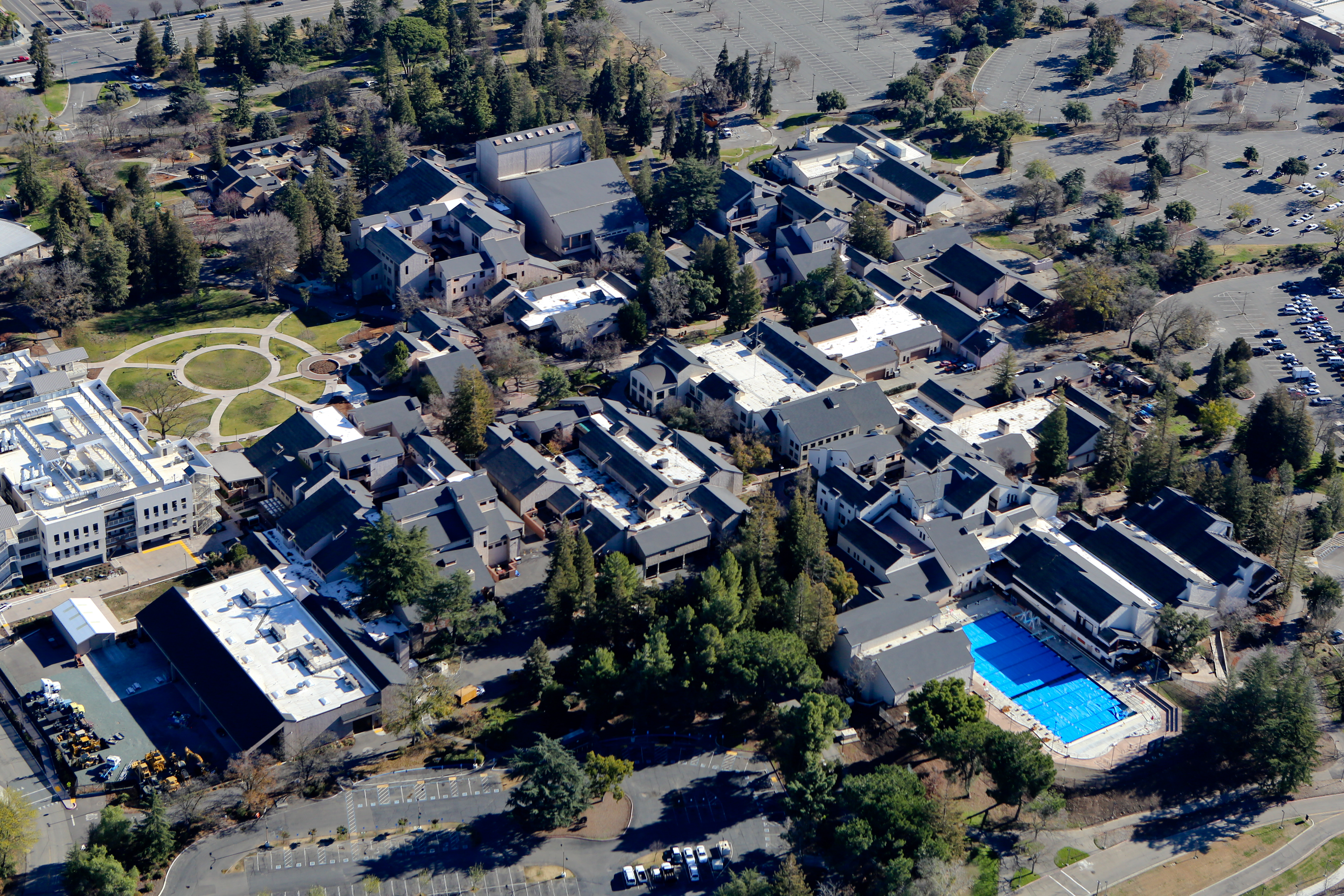 An aerial view of San Joaquin Delta College.