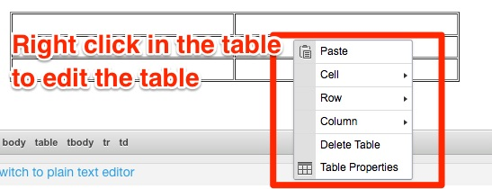 Right click in the table to display a menu for editing the table