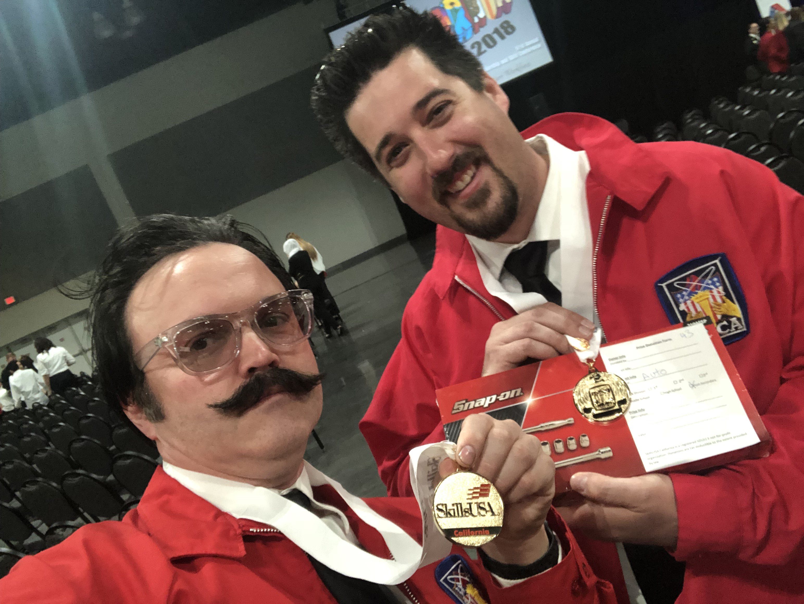 Shane Gallagher and Associate Professor Dan Bonnema of San Joaquin Delta College pose after Gallagher took gold at the SkillsUSA competition.