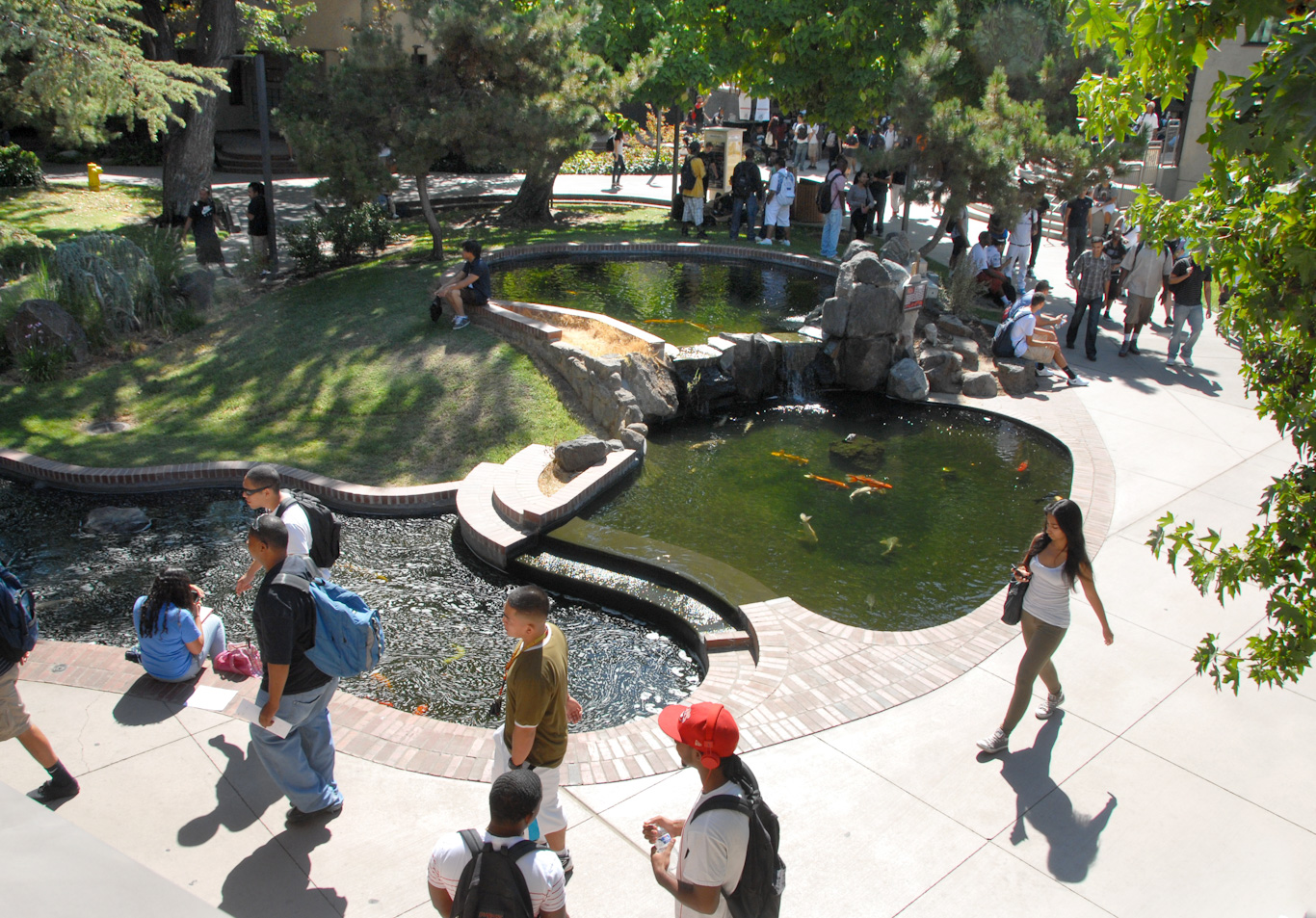 Students pass by the iconic koi pond at San Joaquin Delta College.