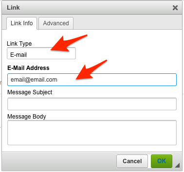 Add a link as an email address
