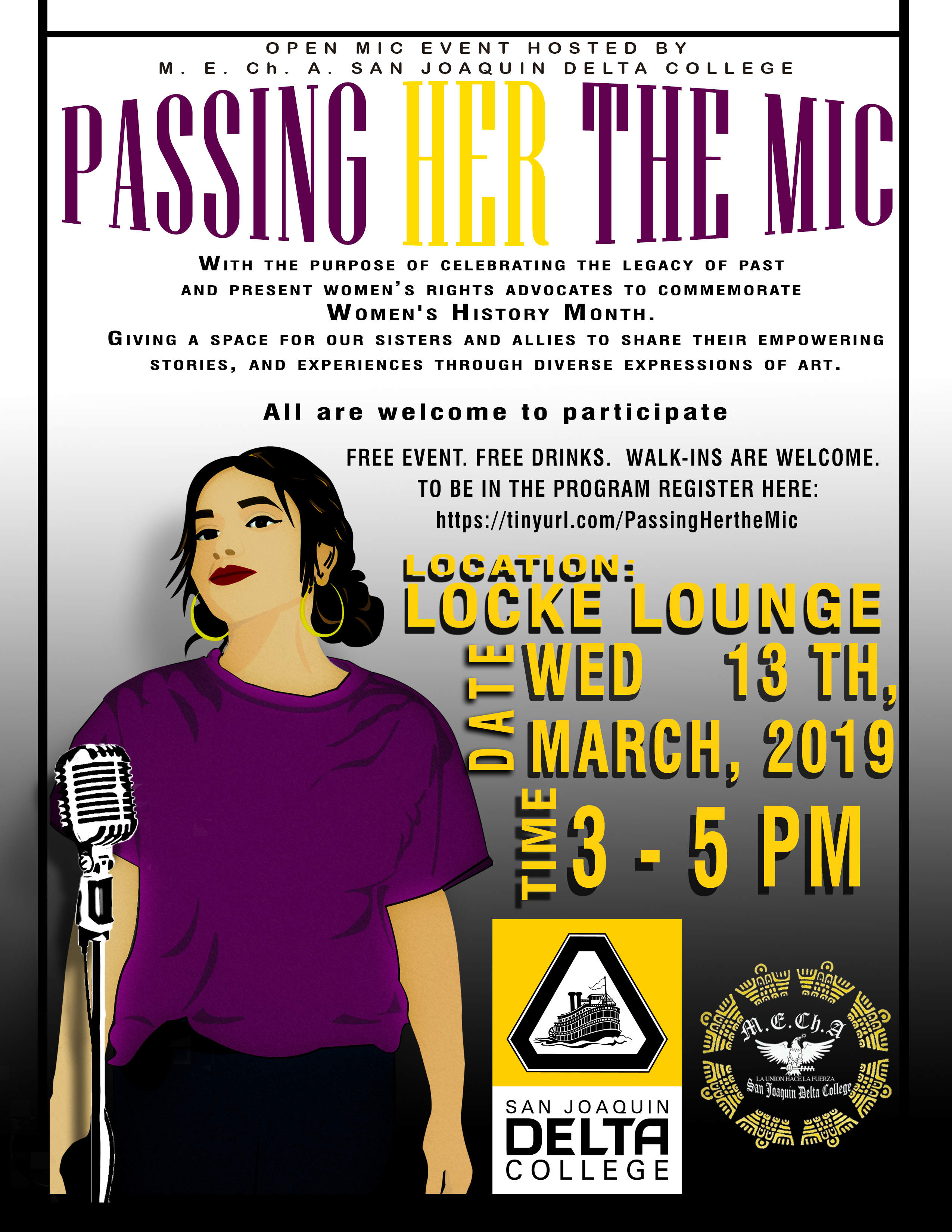 """Passing Her The Mic"" is one of a number of events planned at San Joaquin Delta College for Women's History Month."
