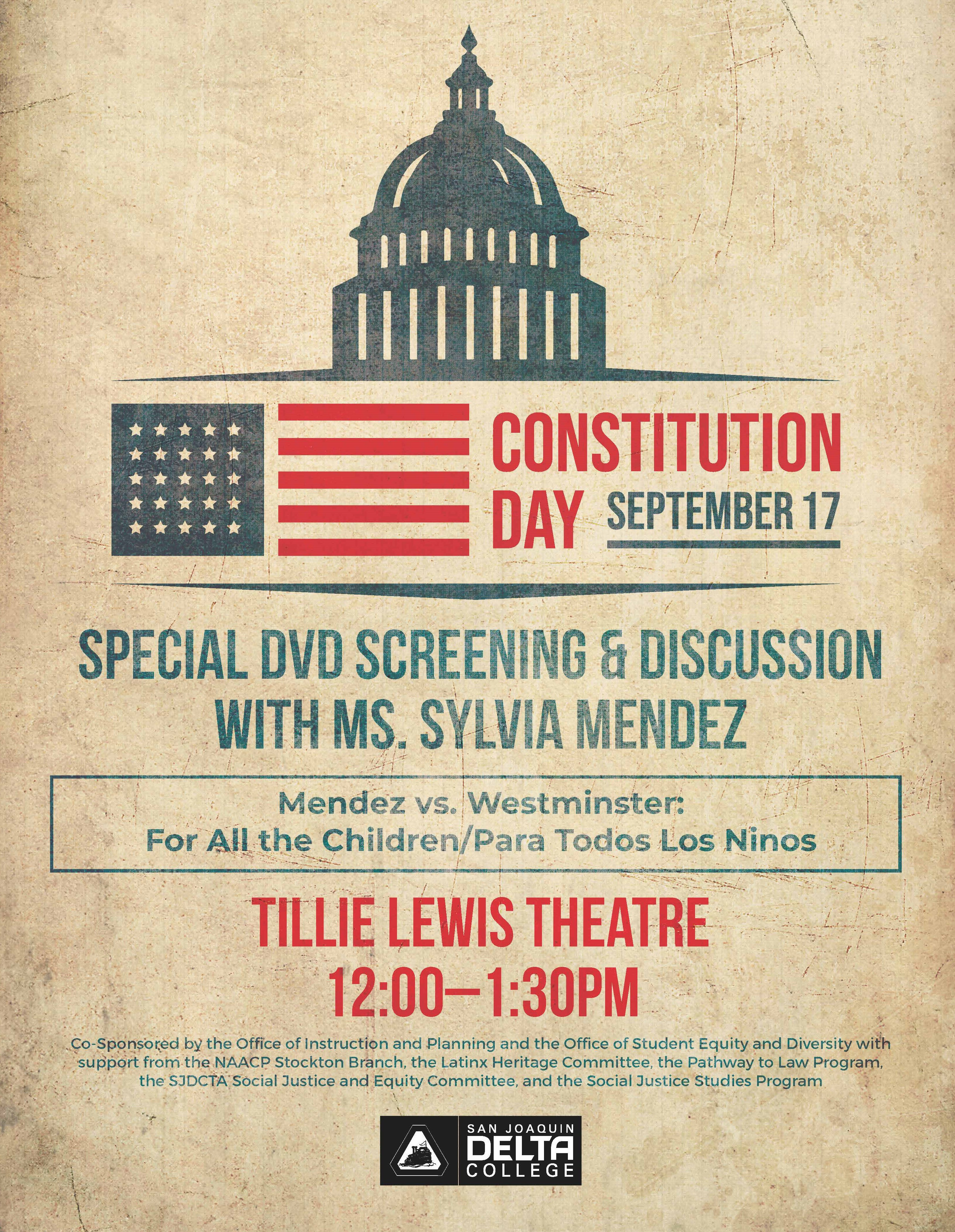 Presidential Medal of Freedom recipient Sylvia Mendez will be on hand for a special Constitution Day film screening at San Joaquin Delta College.