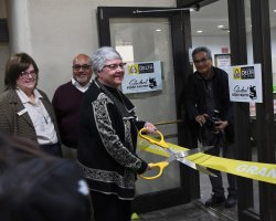 Delta College President Kathy Hart formally opens the College's new food pantry. The goal is to provide food for students who are often unsure where their next meal will come from.