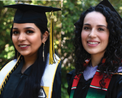 Student speaker Anmol Sharma and alumni speaker Dr. Maricela Salcedo-Prado