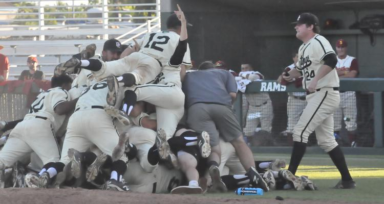 San Joaquin Delta College players celebrate after recording the final out in the California Community College Athletic Association Baseball State Championship on Monday.