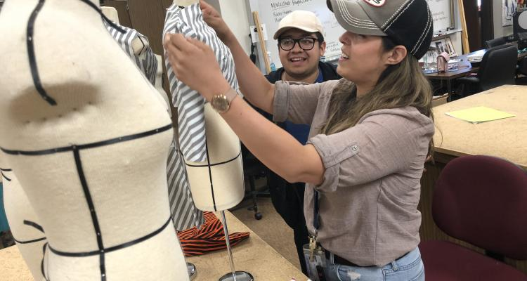 Fashion show students and staff prepare for Delta College's 11th annual fashion show, to be held outdoors this year and free to the public.