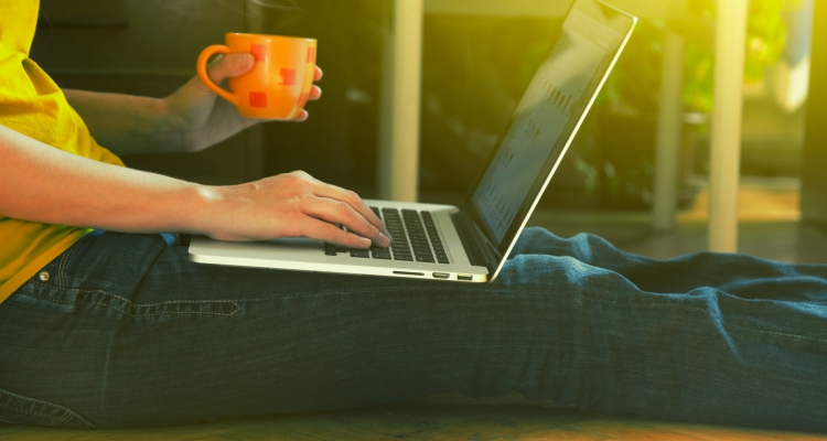 Student at home with laptop