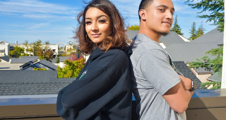 San Joaquin Delta College speech and debate team members Umbreen Khan, left, and Peter Perez won the novice championship at a tournament in Reno last week.n