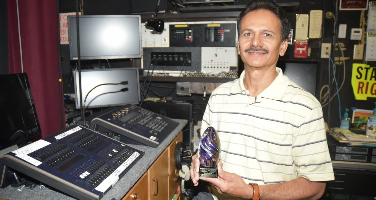 Kishor Patel is the man behind the curtain at San Joaquin Delta's Atherton Auditorium. Patel was recently awarded by the Stockton Symphony for his efforts.