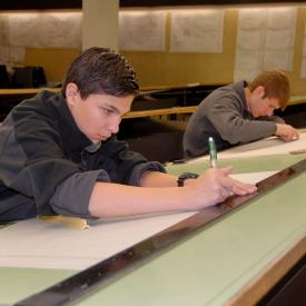 Students work in architecture drafting class