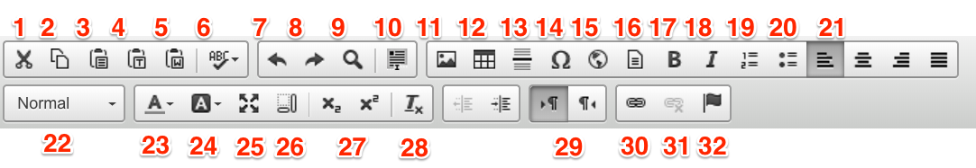 WYSIYWG Toolbar screenshot